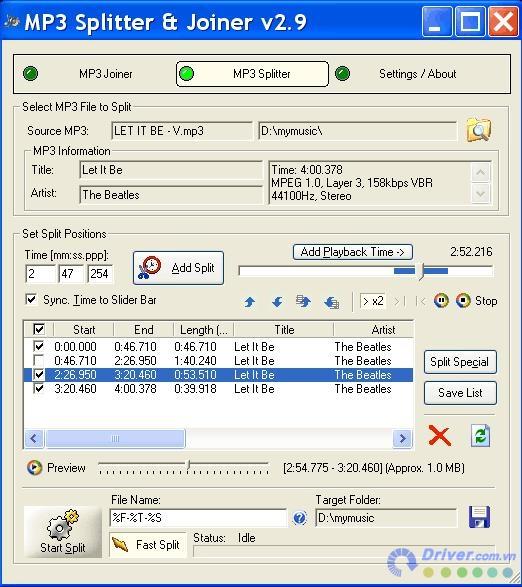 MP3 Splitter Joiner cắt nhạc, ghép nhạc chuyên nghiệp